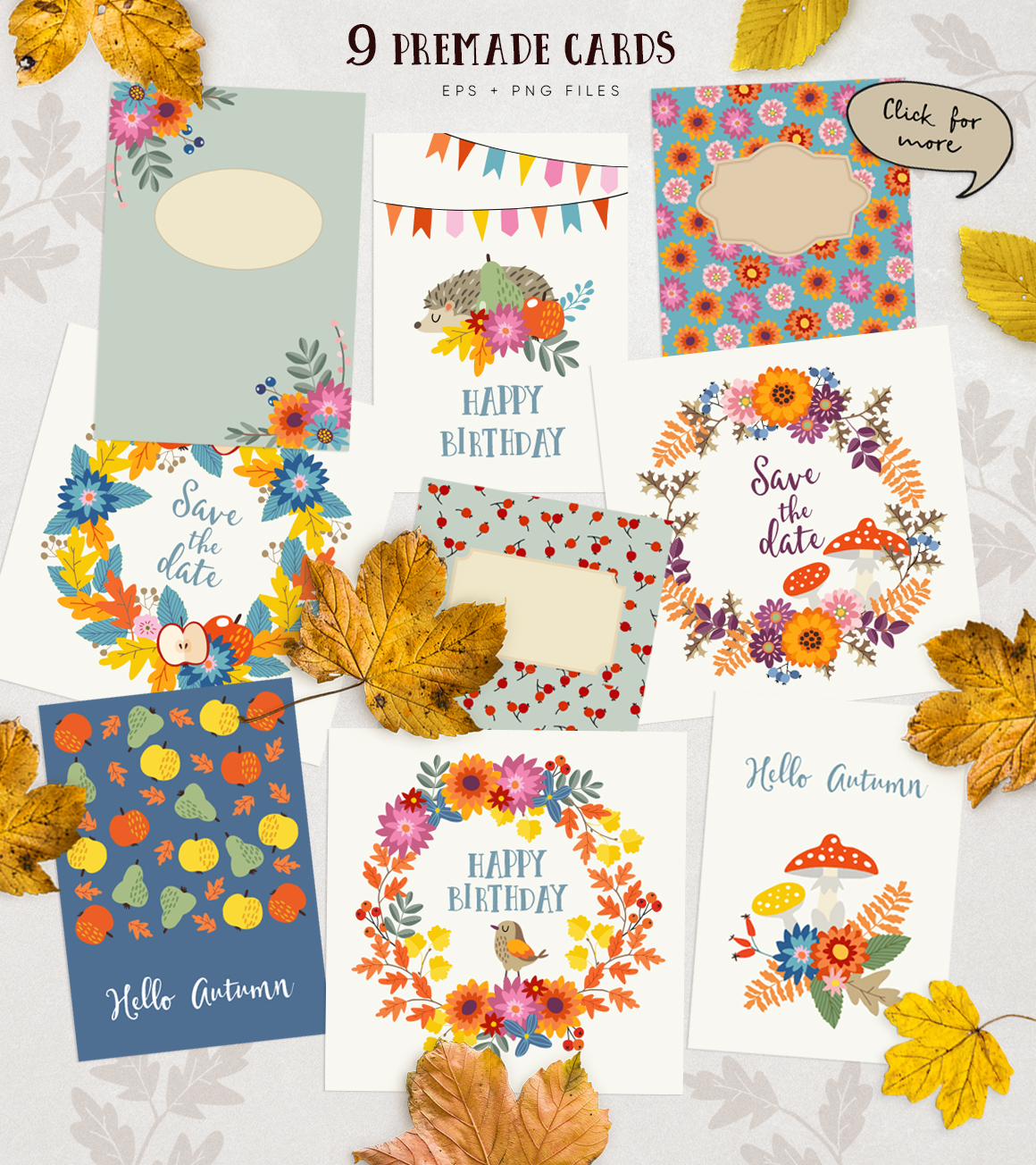 Autumn flowers graphic collection example image 8
