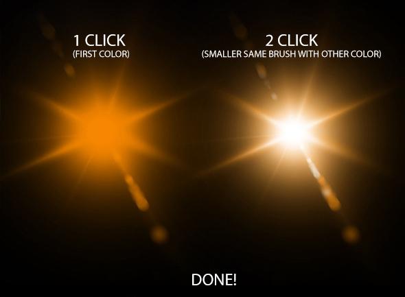 Lens Flare & Stars Photoshop Brushes example image 5