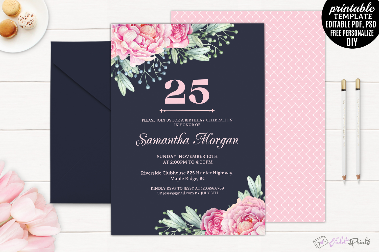 Navy and Pink Watercolor Flowers 25th B | Design Bundles