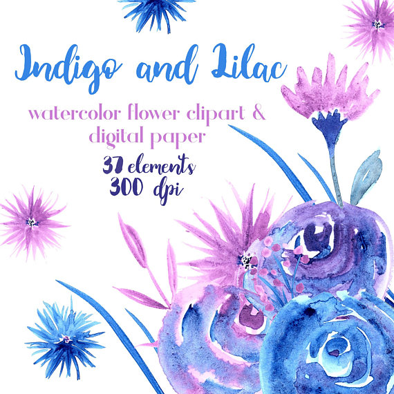Blue And Purple Watercolor Flowers Lilac Clipart