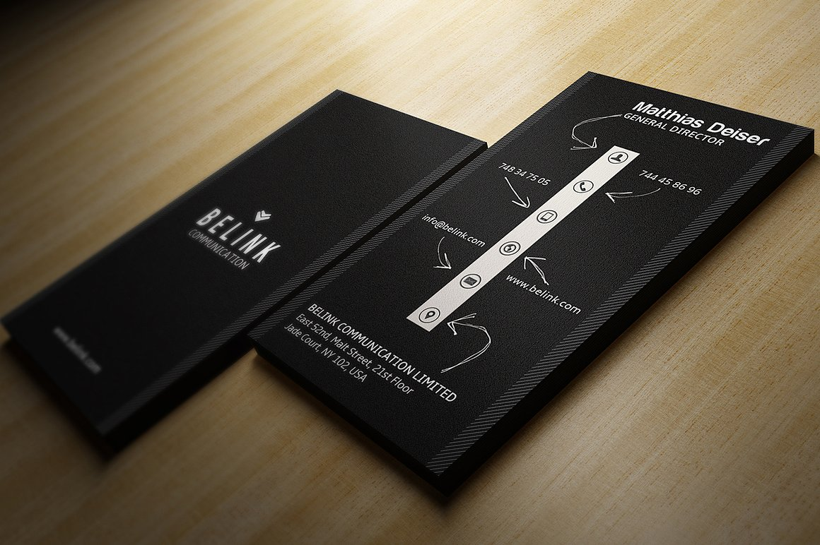 Creative Black Business Card by Marvel | Design Bundles