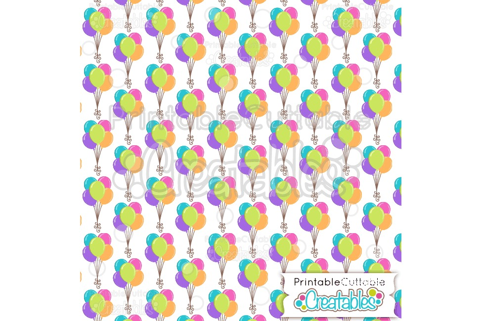 Birthday Balloons Digital Paper & Seamless Pattern