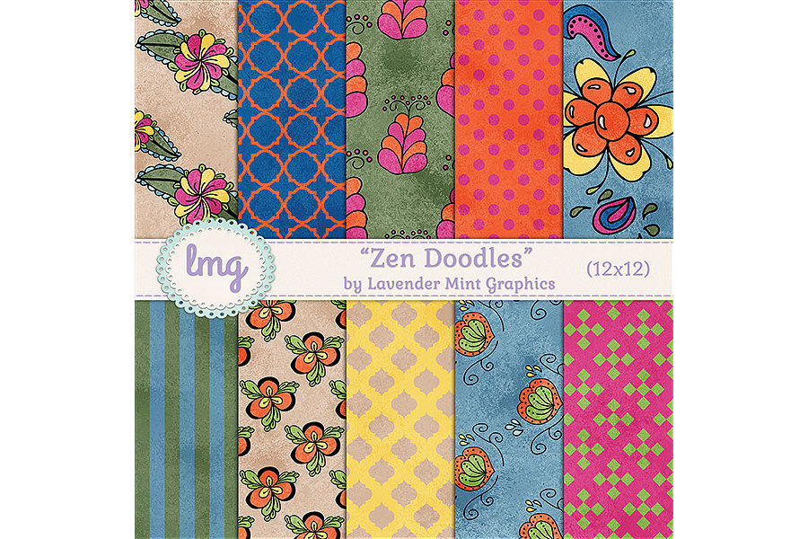 Zen Doodles Digital Scrapbook Paper example image 1