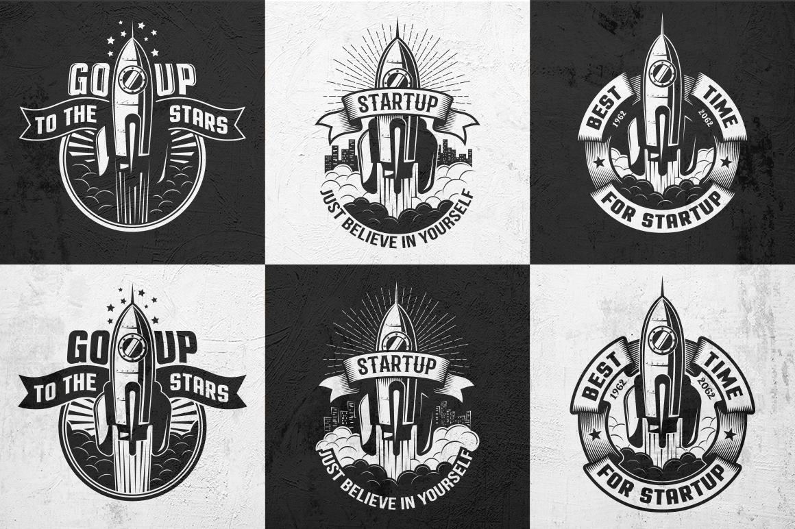 Startup Rocket Retro Logo example image 5