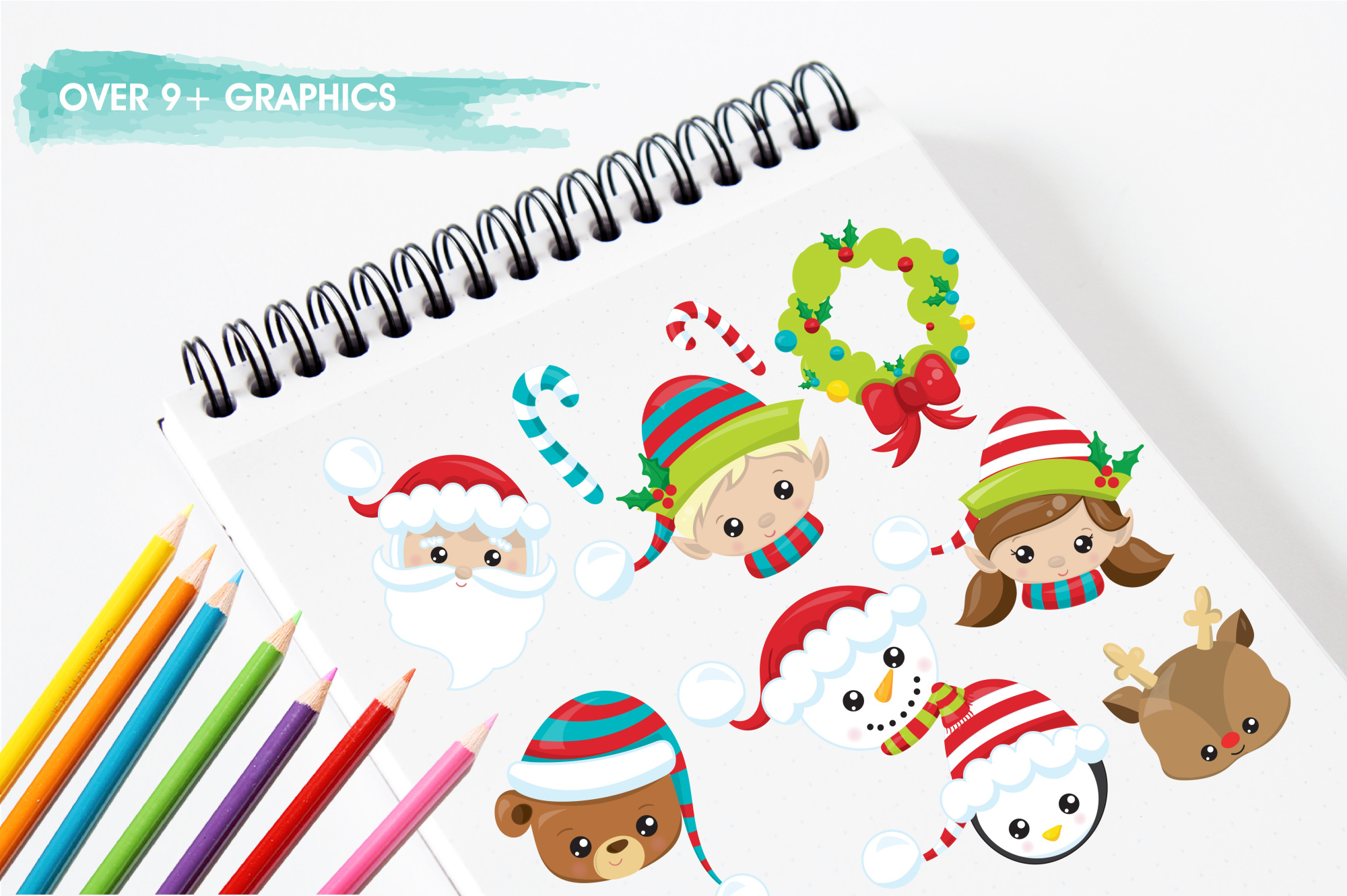 Christmas Faces graphics and illustrations example image 3