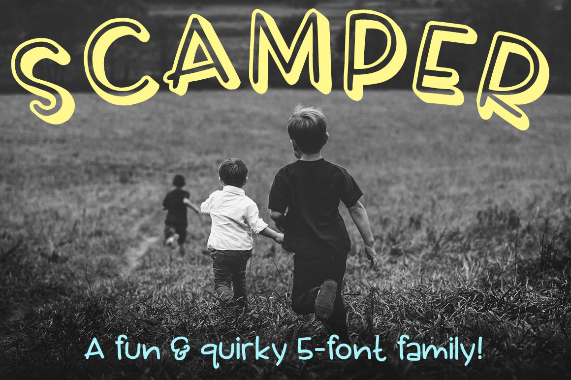 Scamper: a five-font family example image 1