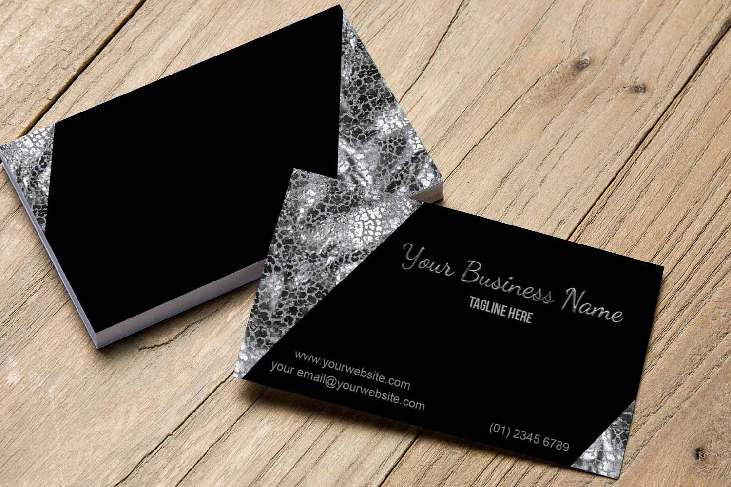 Stylish Black and Silver Business Card | Design Bundles
