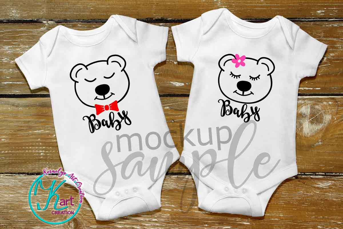 Blank White Baby Mockup, White Baby Bodysuit mock up, Baby Mock up - Flat, Top View, Wood Background, two white baby onesie mockups, JPEG example image 2