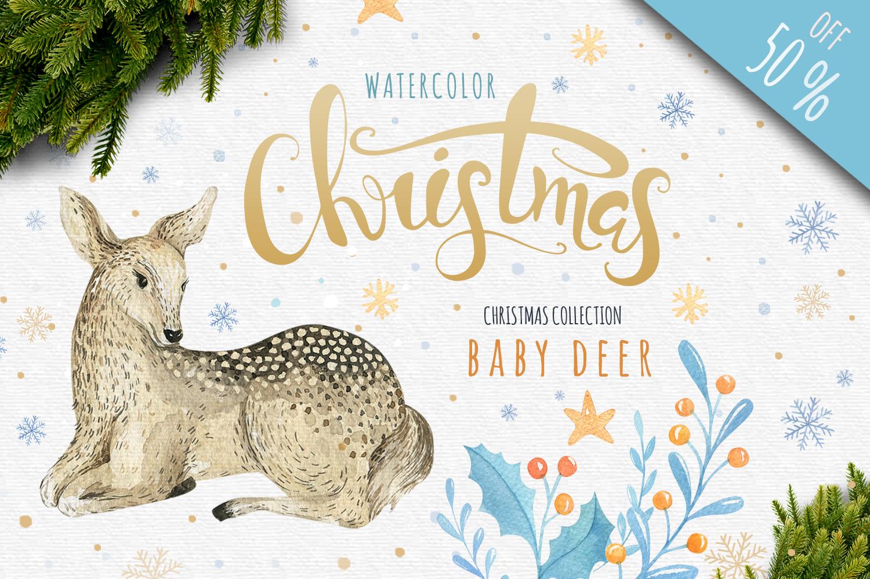 Watercolour baby deer example image 1