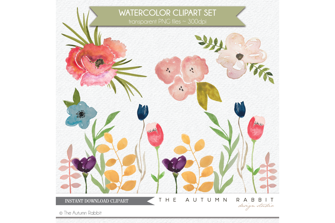 Watercolor Flower Clipart Set example image 2