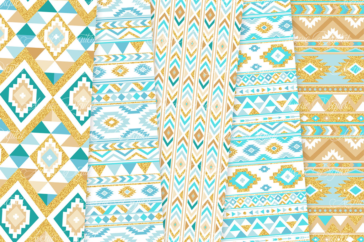 Turquoise and Gold Glitter Boho Seamless Patterns example image 2