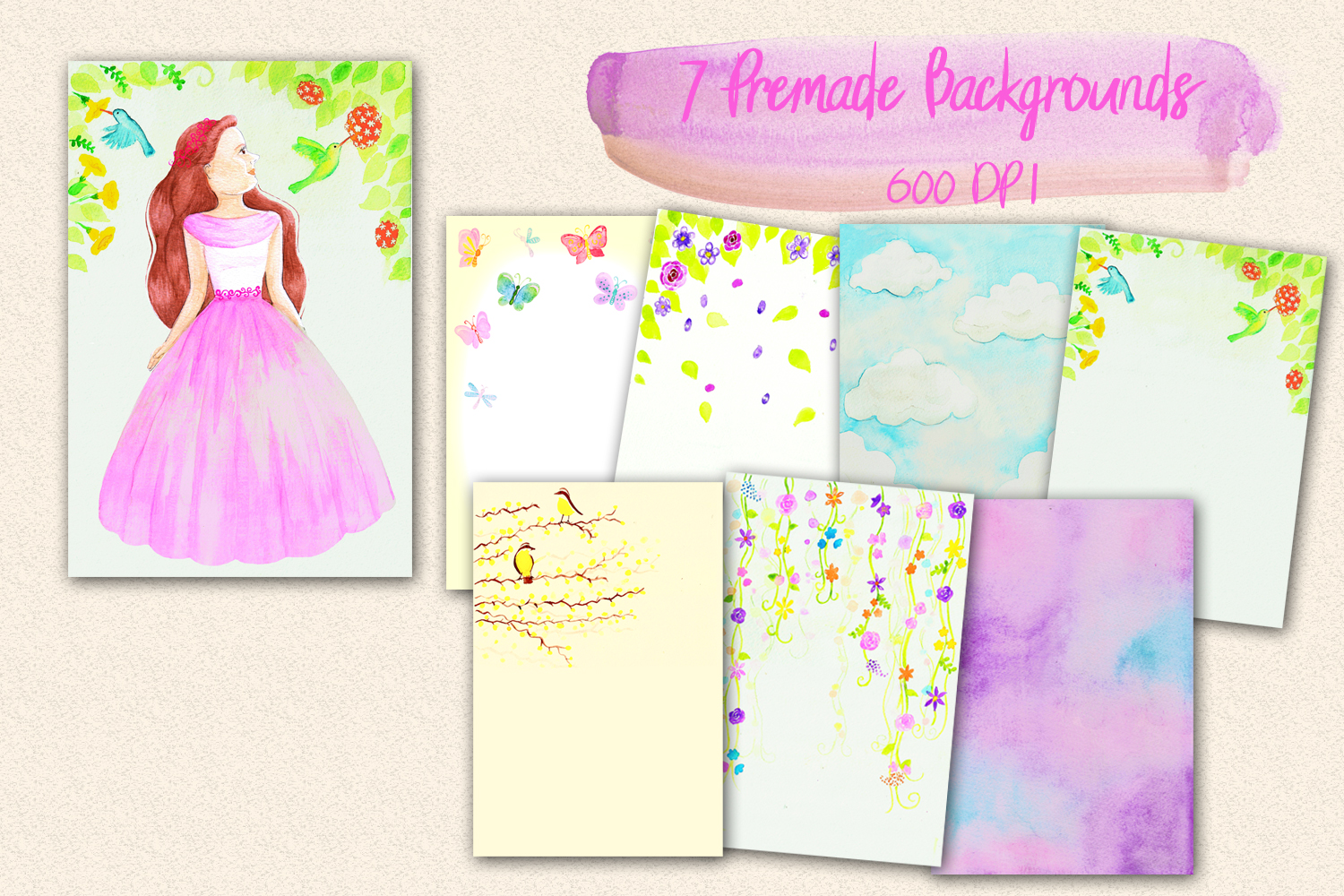 Lovely Princess - watercolor clipart example image 2
