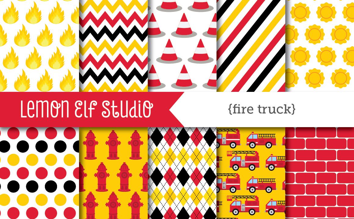 Fire Truck-Digital Paper (LES.DP50) example image 1