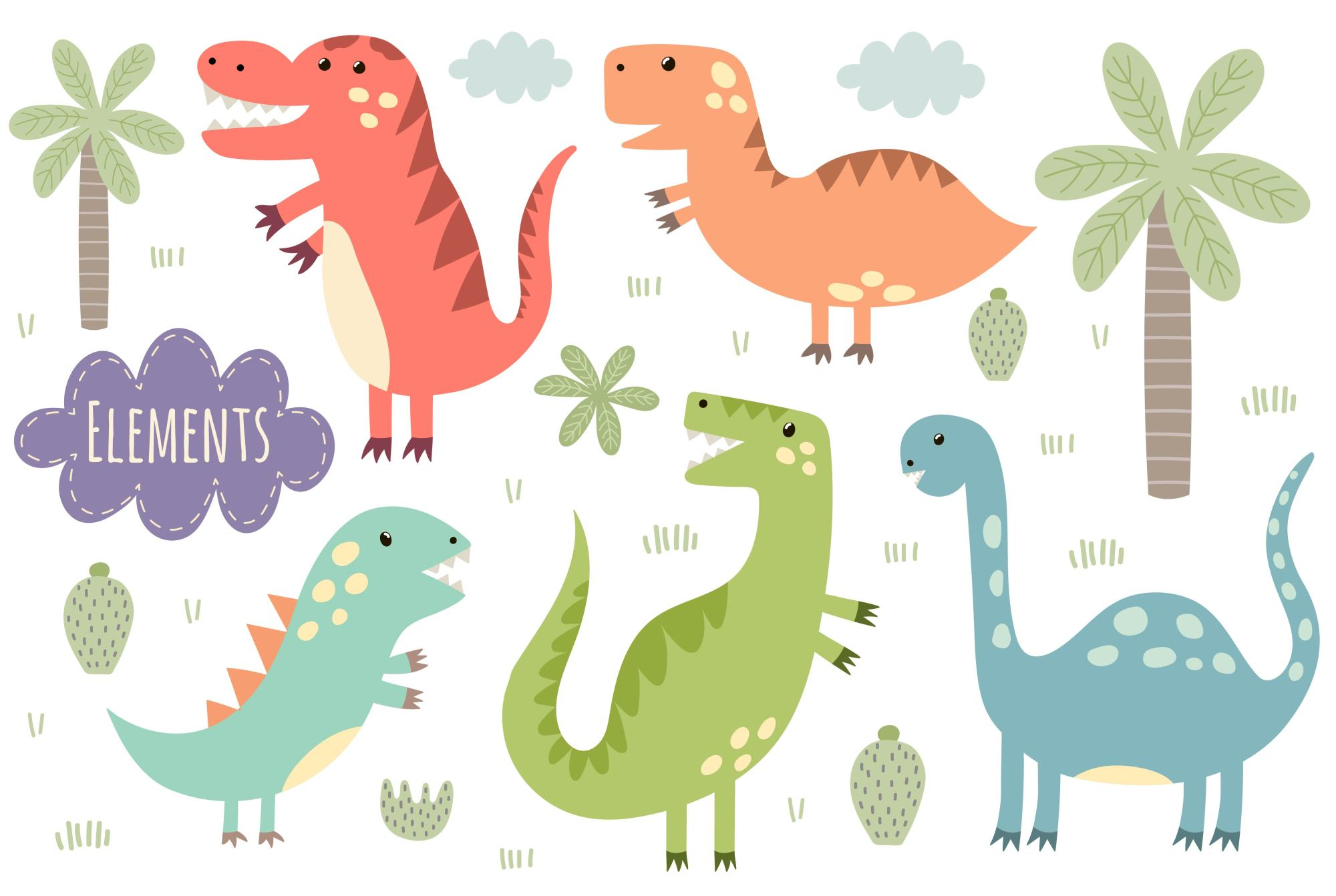 Dino Party: patterns & illusrations example image 8