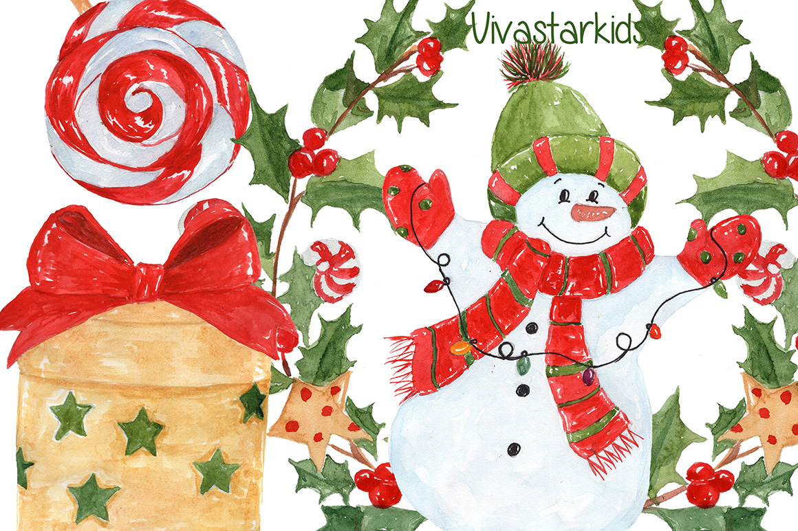 Watercolor Christmas kids clipart example image 5