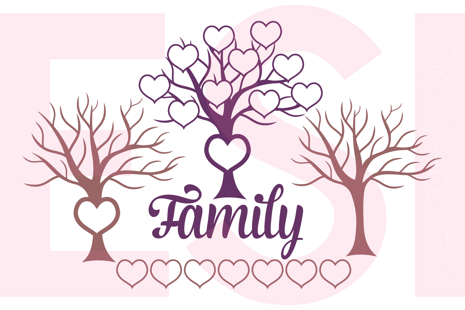 family tree design with extra hearts example image 1
