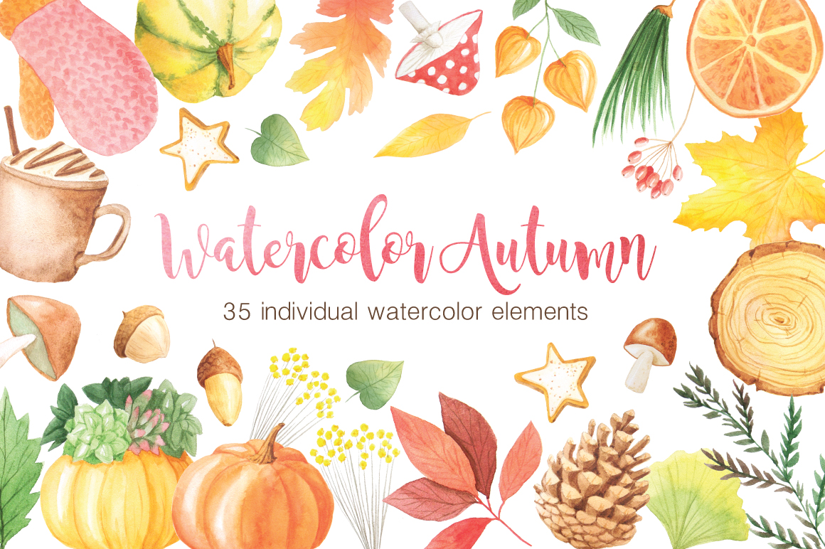 The Watercolor Autumn Collection  example image 1