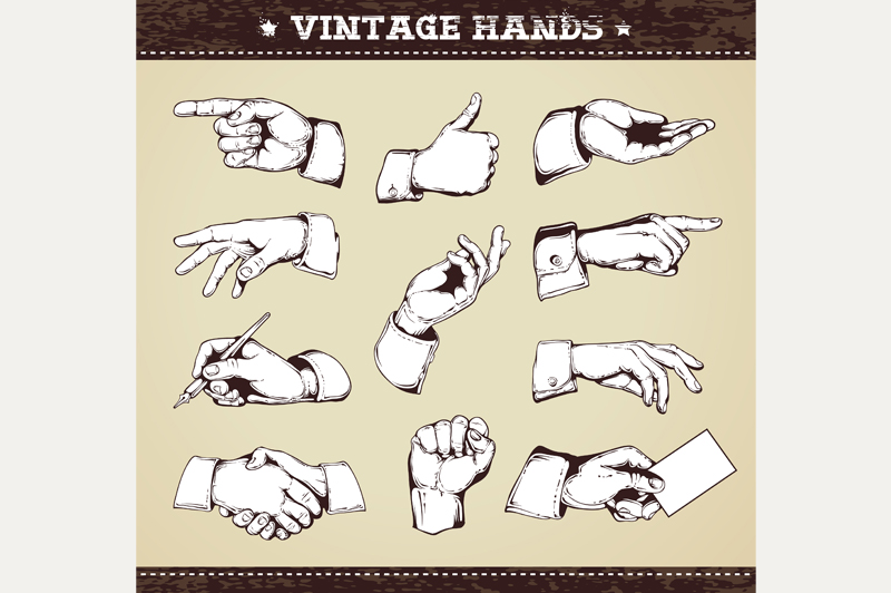 Vintage Hands | Vector Icons example image 2
