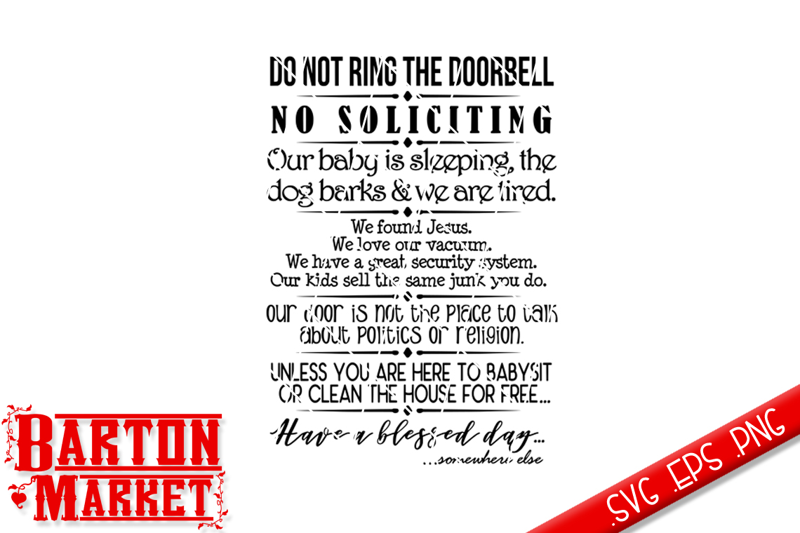 Do Not Ring The Doorbell SVG / EPS / PNG example image 2