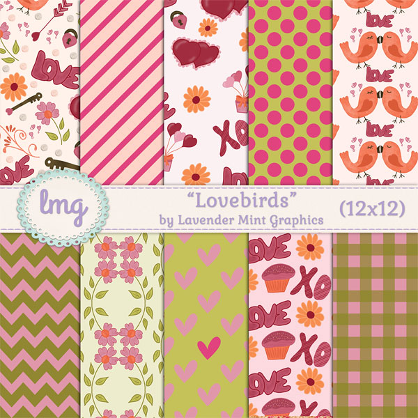 Lovebirds Valentines Day Backgrounds example image 1
