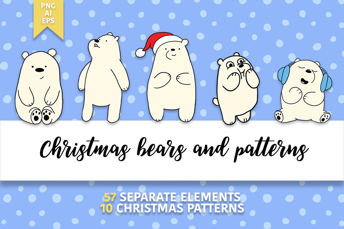 Christmas bears and patterns example image 1