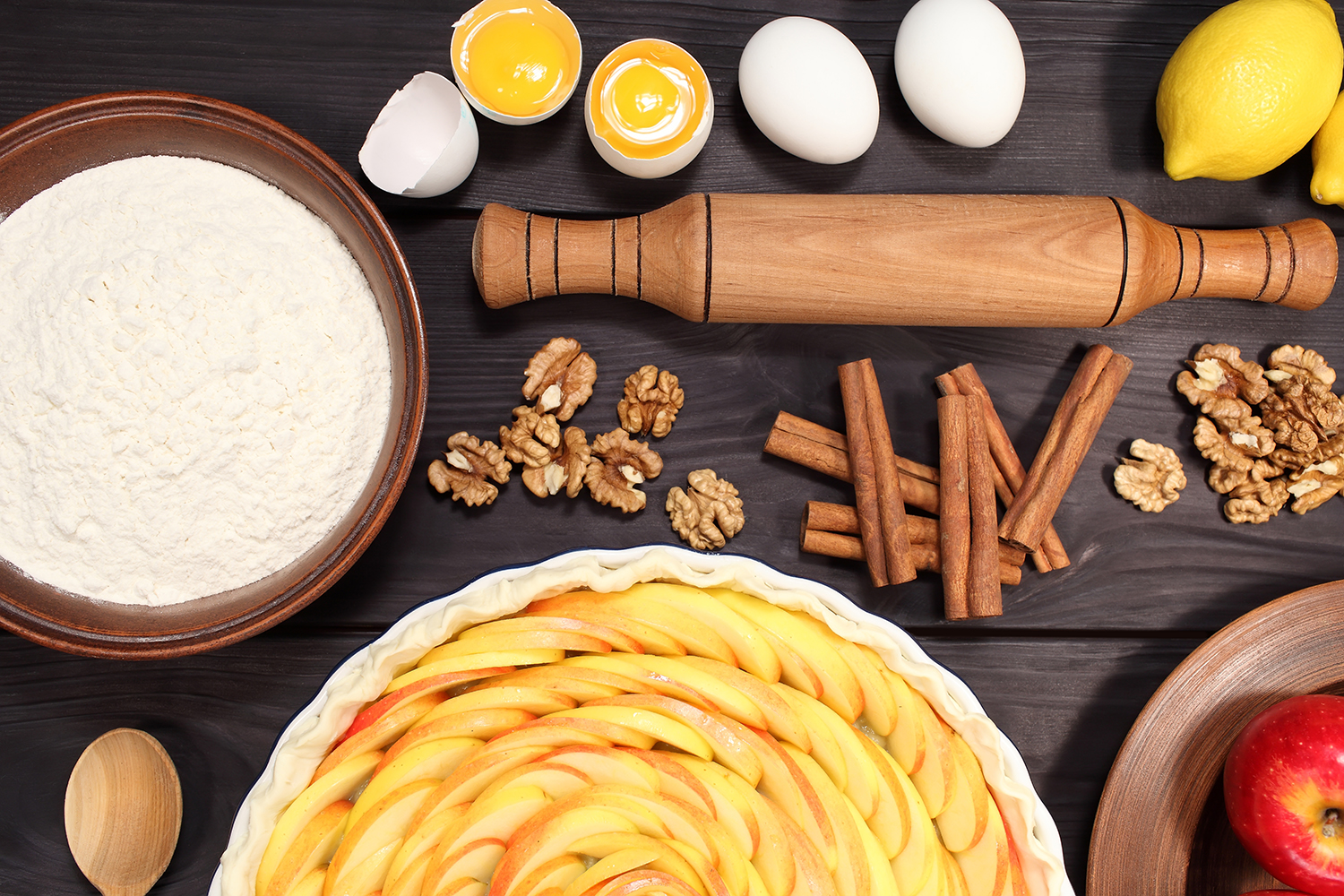 Set 12 photos Apple Pie and raw ingredients for baking. Sweet food series. Dessert. Top view example image 7