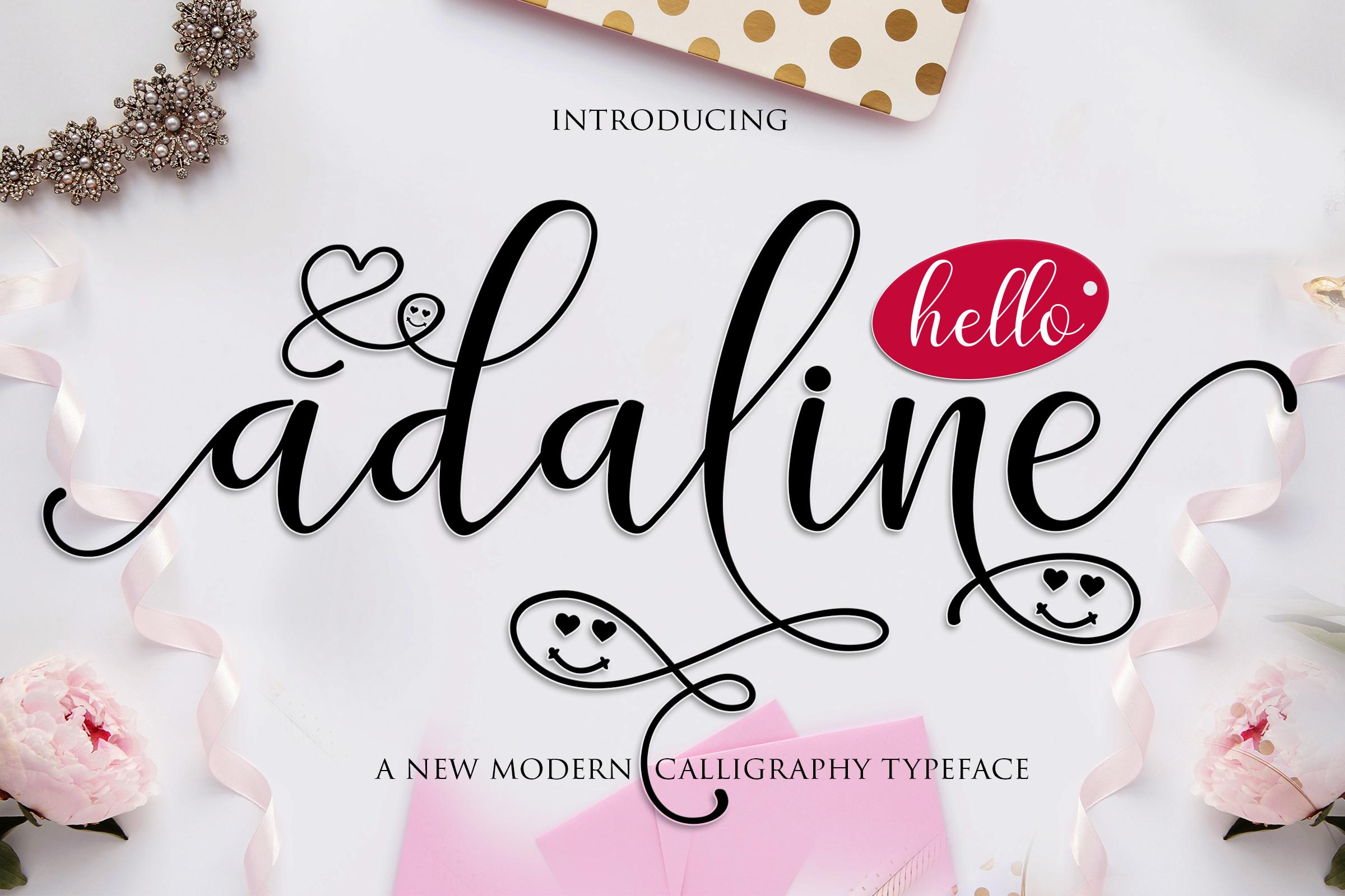 Adaline script font family by mrletters font bundles