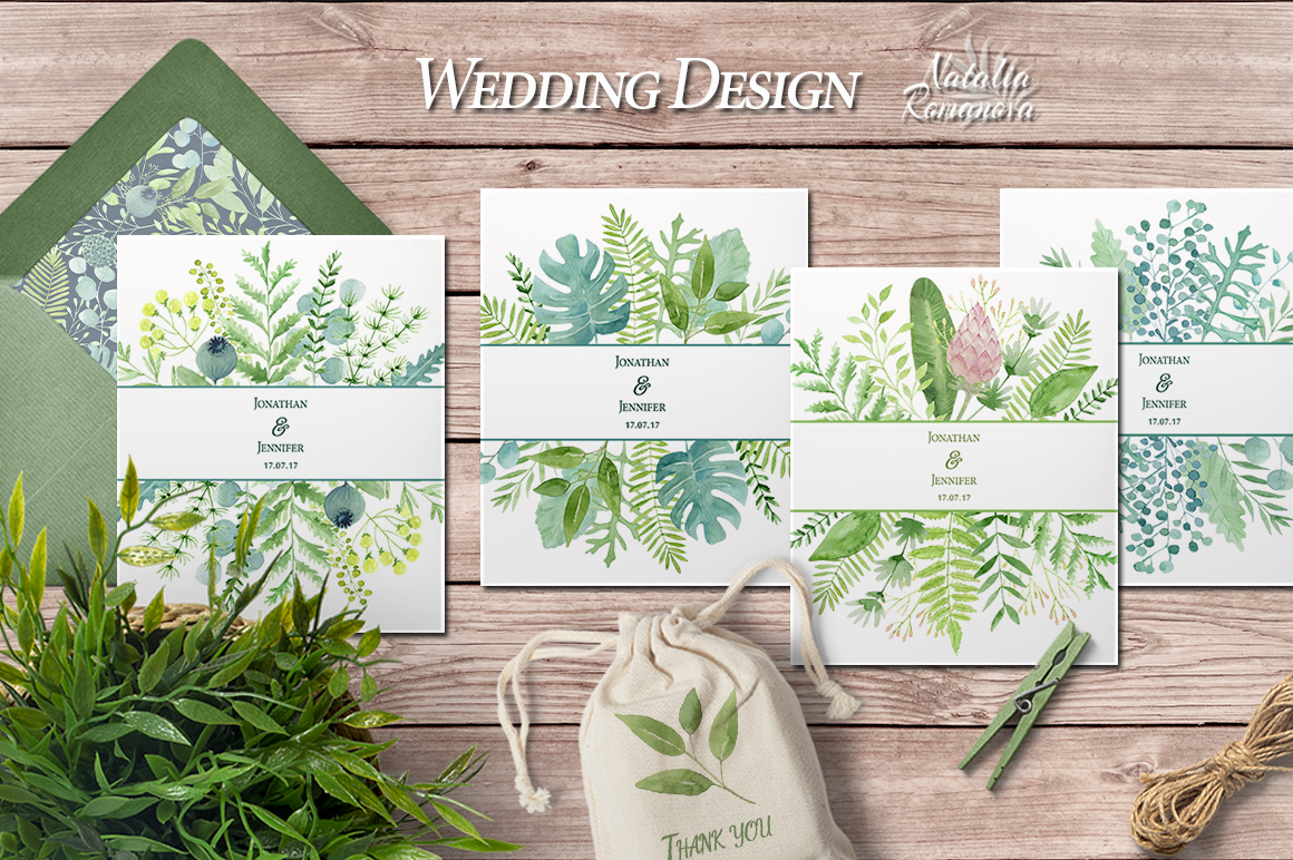 Watercolor green design example image 4