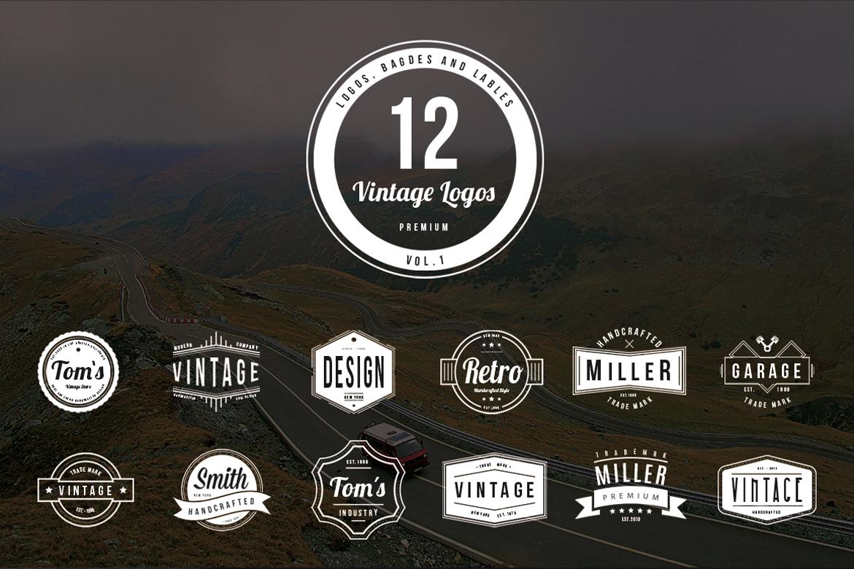 12 Vintage Logos Badge Templates By P Design Bundles