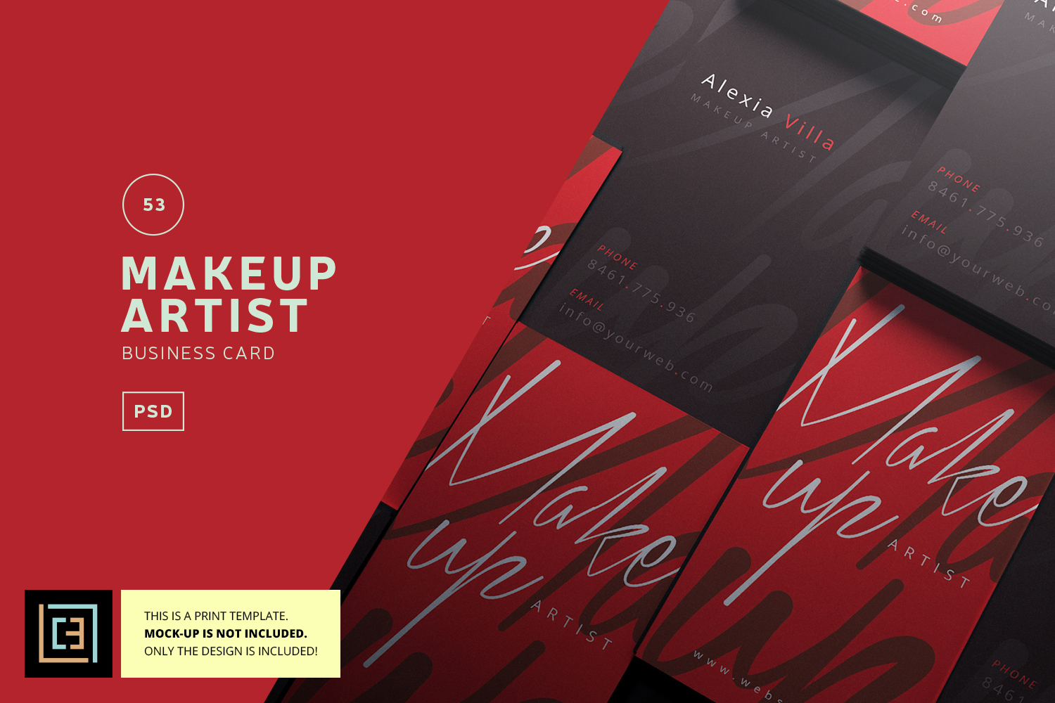 Makeup Artist Business Card - BC053 by | Design Bundles