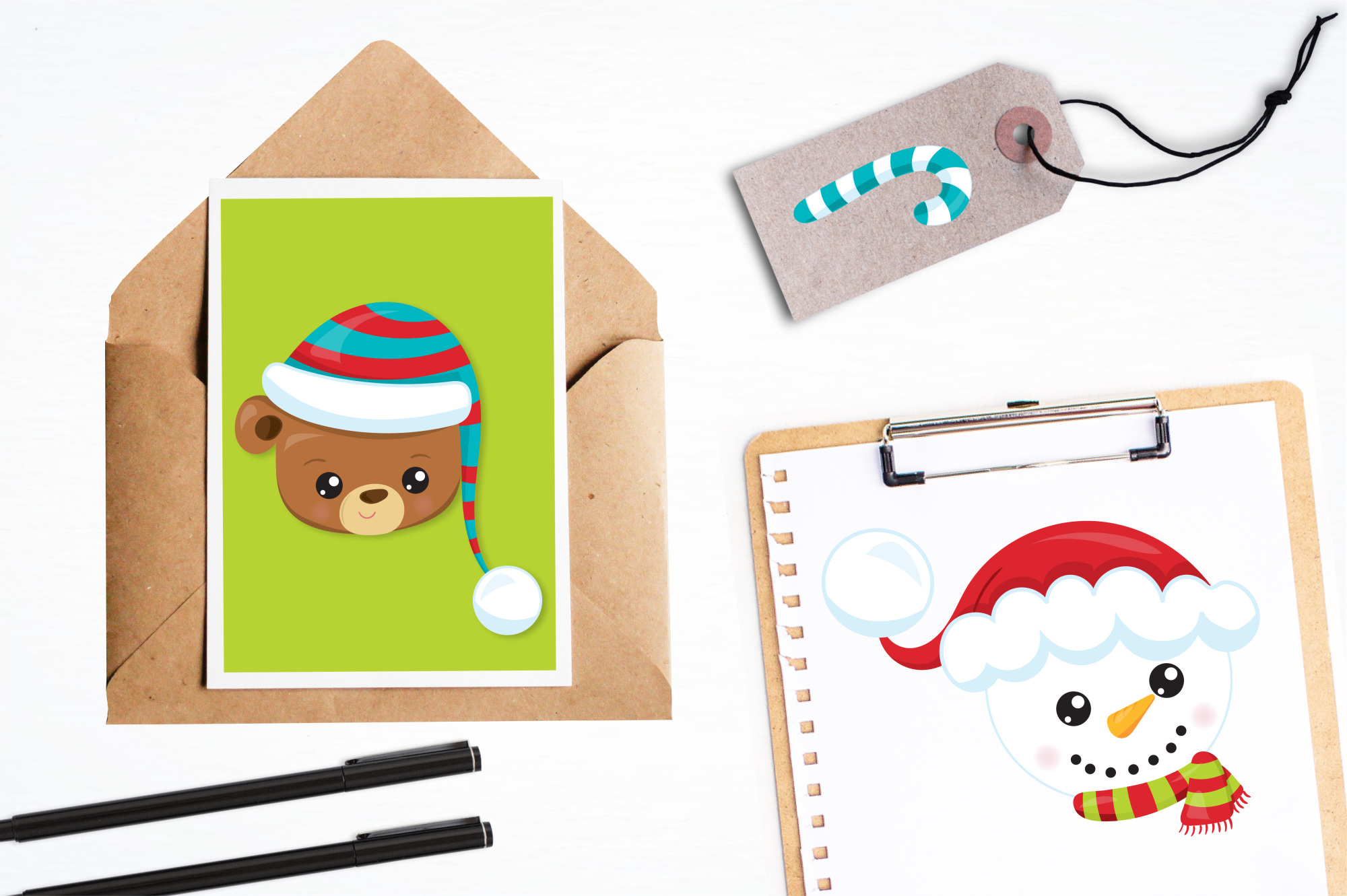 Christmas Faces graphics and illustrations example image 4