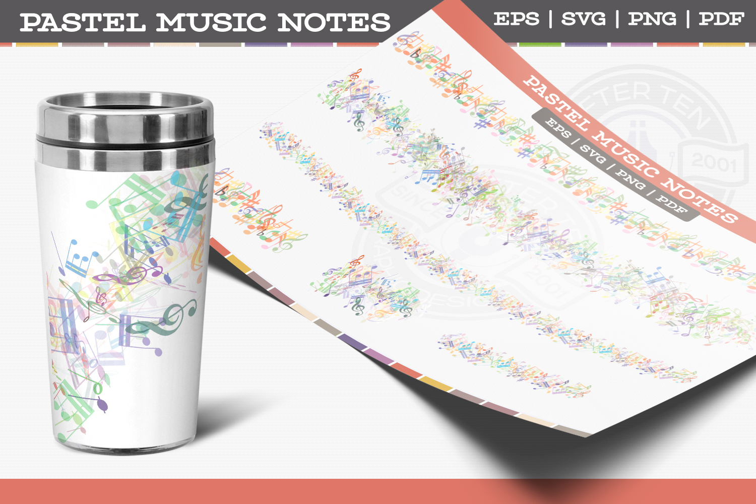 Pastel Music Notes example image 1