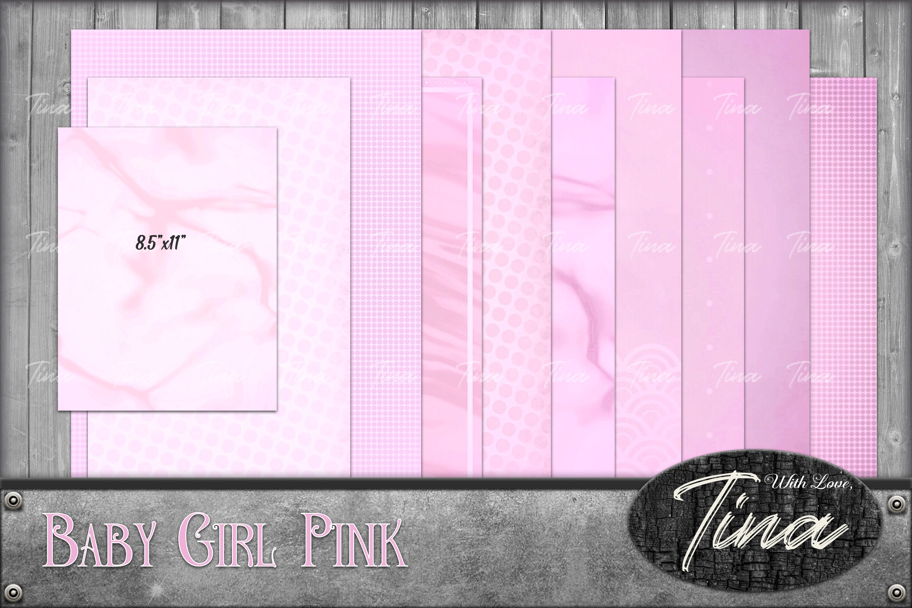 Baby Girl Pink Scrapbook Paper With Tags For Your Little