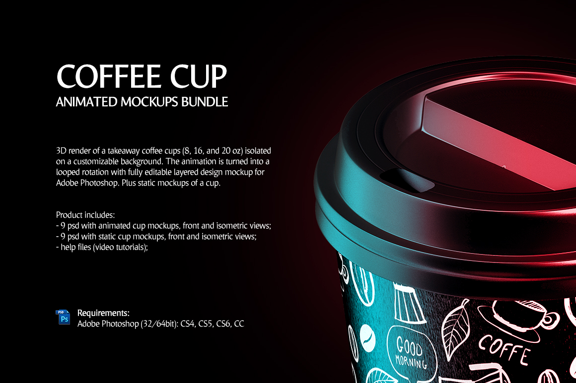 Coffee Cup Animated Mockups Bundle (Coffe mug mock up, cofee cup mockup, tea take away cup mock-up) example image 5