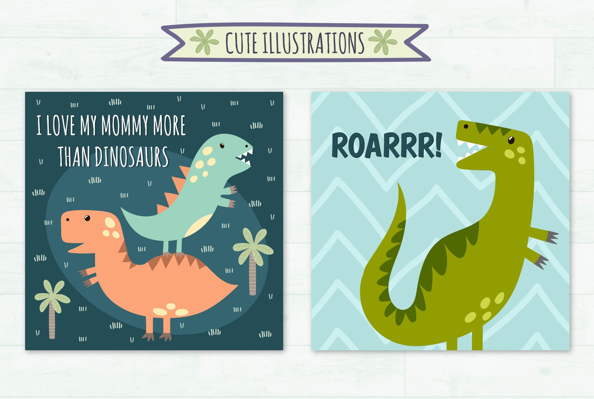 Dino Party: patterns & illusrations example image 6