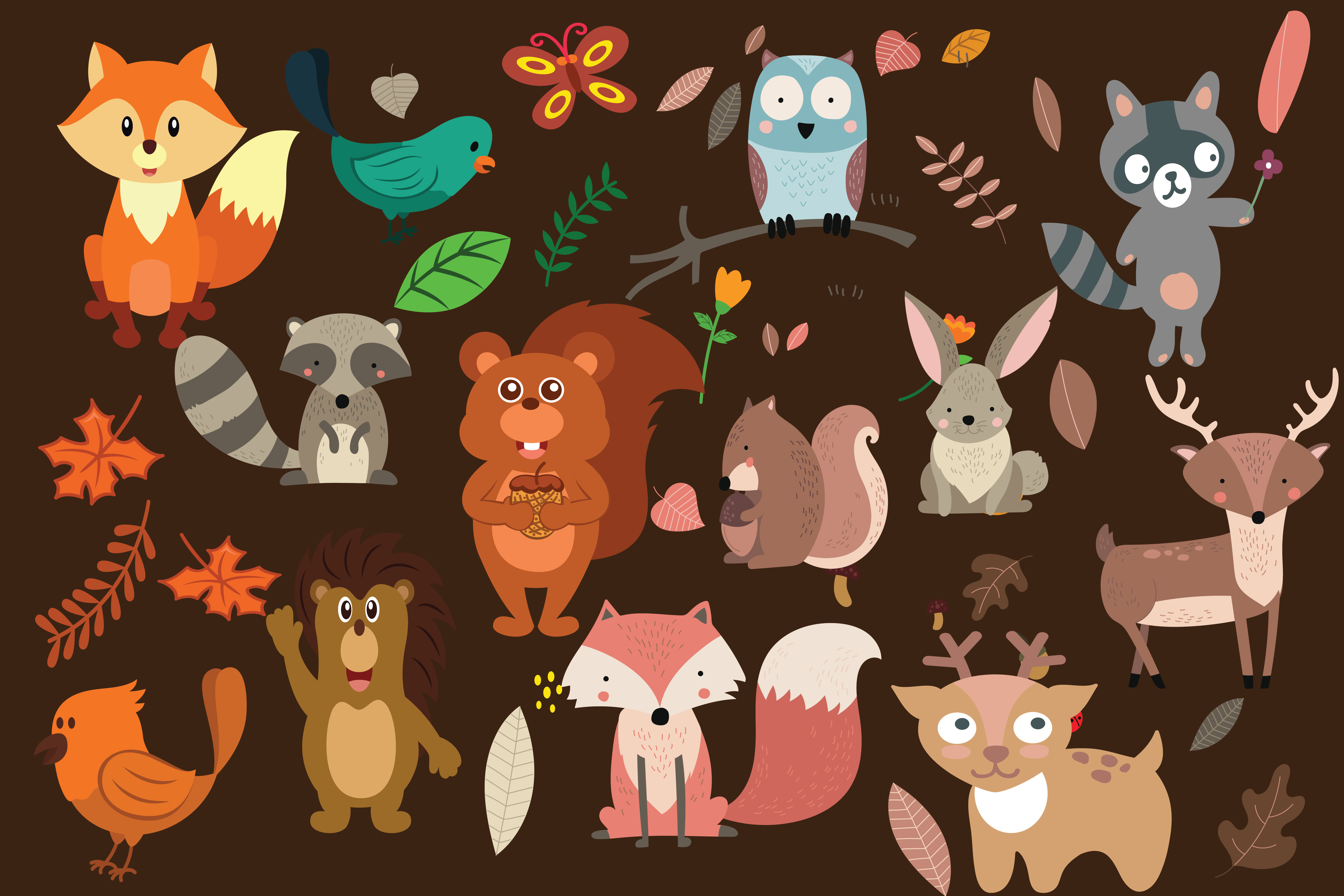 wood land animals,woodland,animals,forest animals,forest,animals,animal,fox,owl,bear example image 2