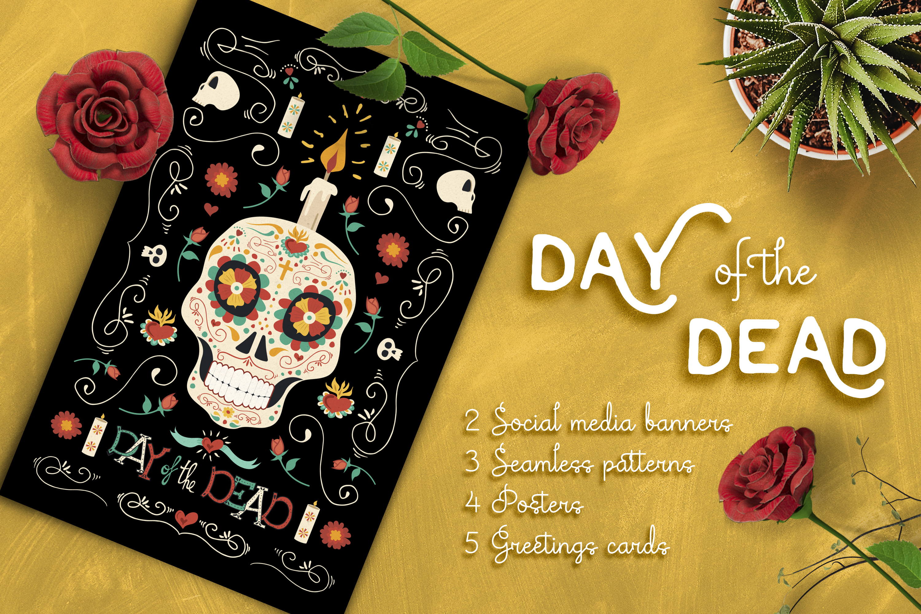 Hand drawn day of the dead set skull p design bundles hand drawn day of the dead set skull party example image 1 m4hsunfo