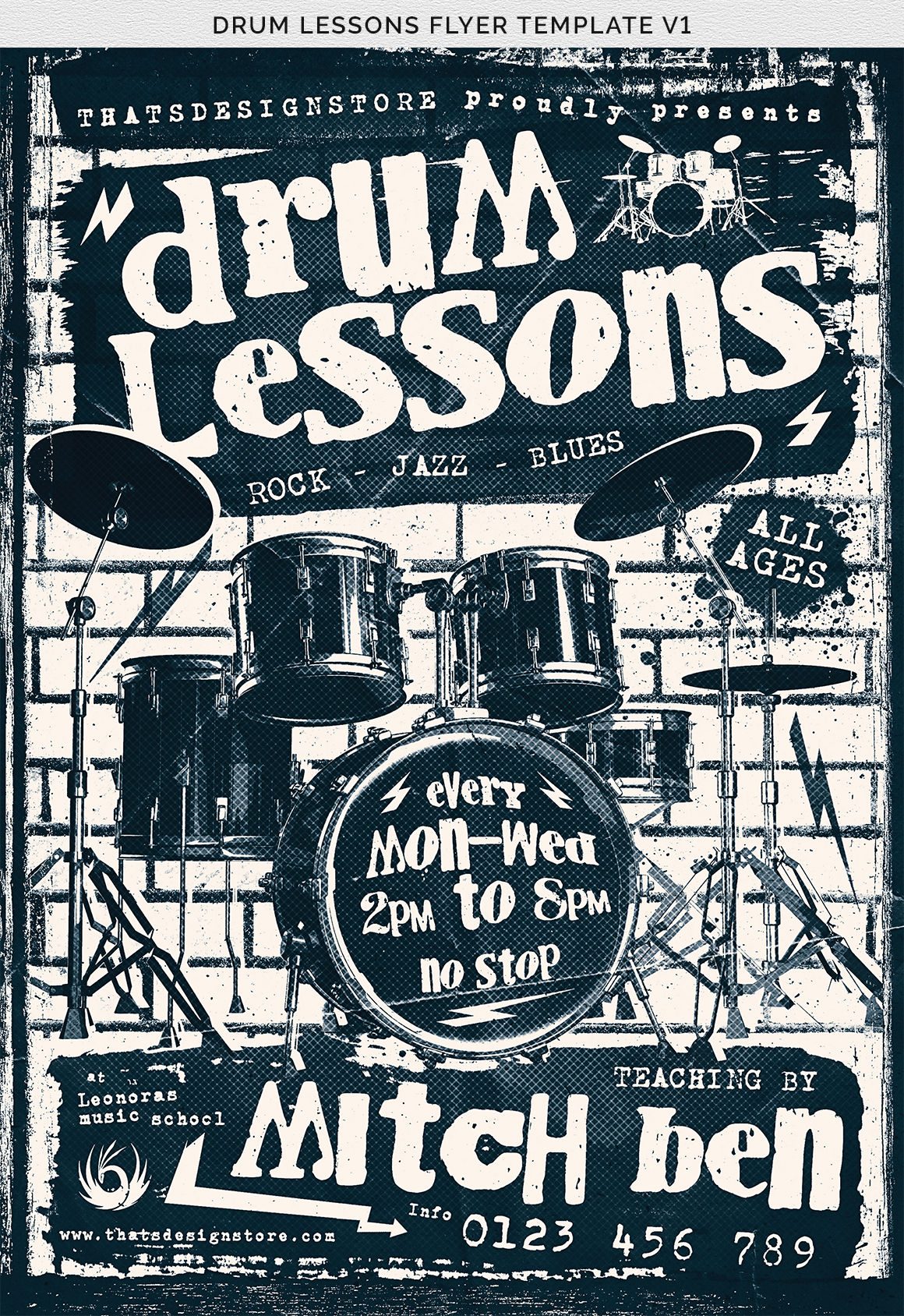 Drum Lessons Flyer Template V1 example image 13