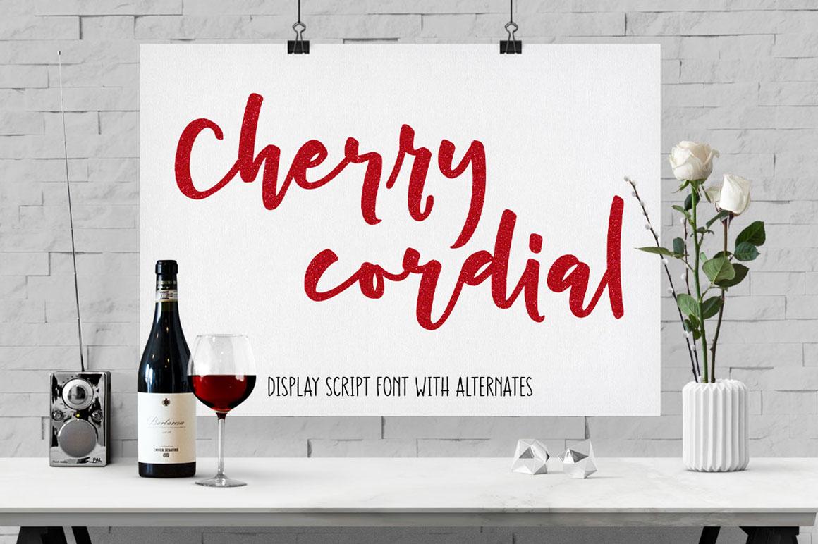 Cherry Cordial: handwritten script display font
