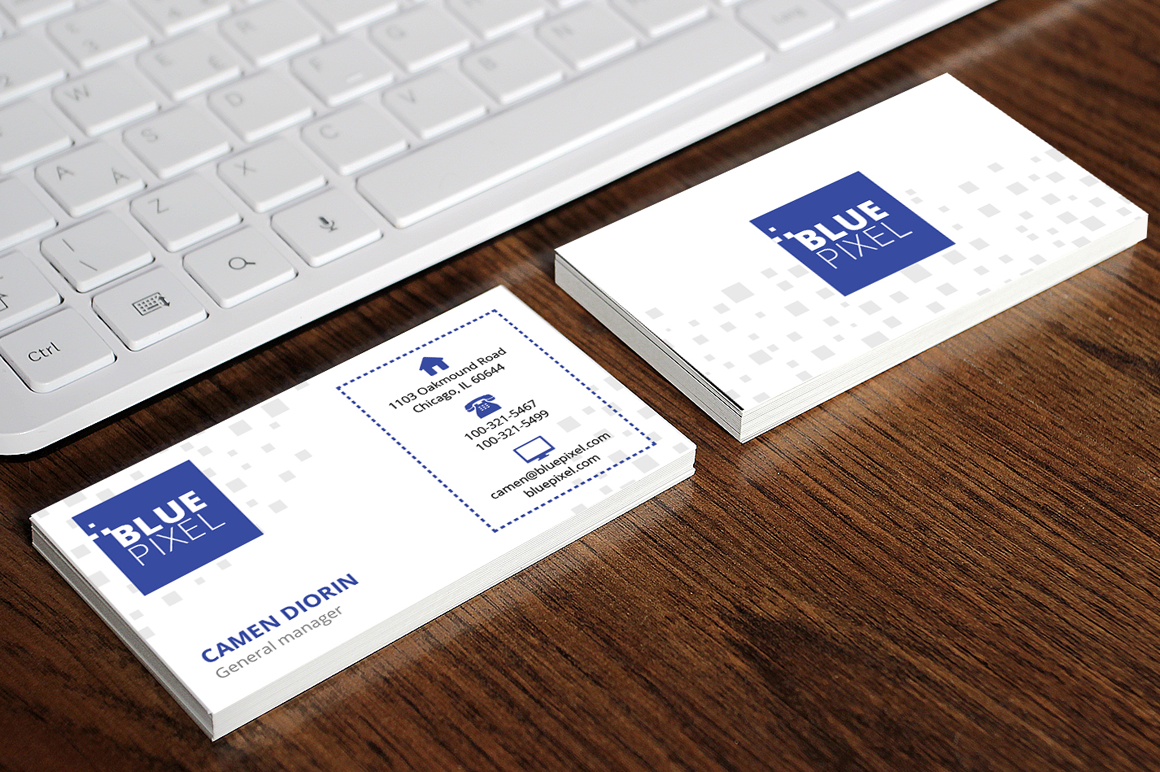 Blue Pixel Business Card by Fancy Fonts | Design Bundles