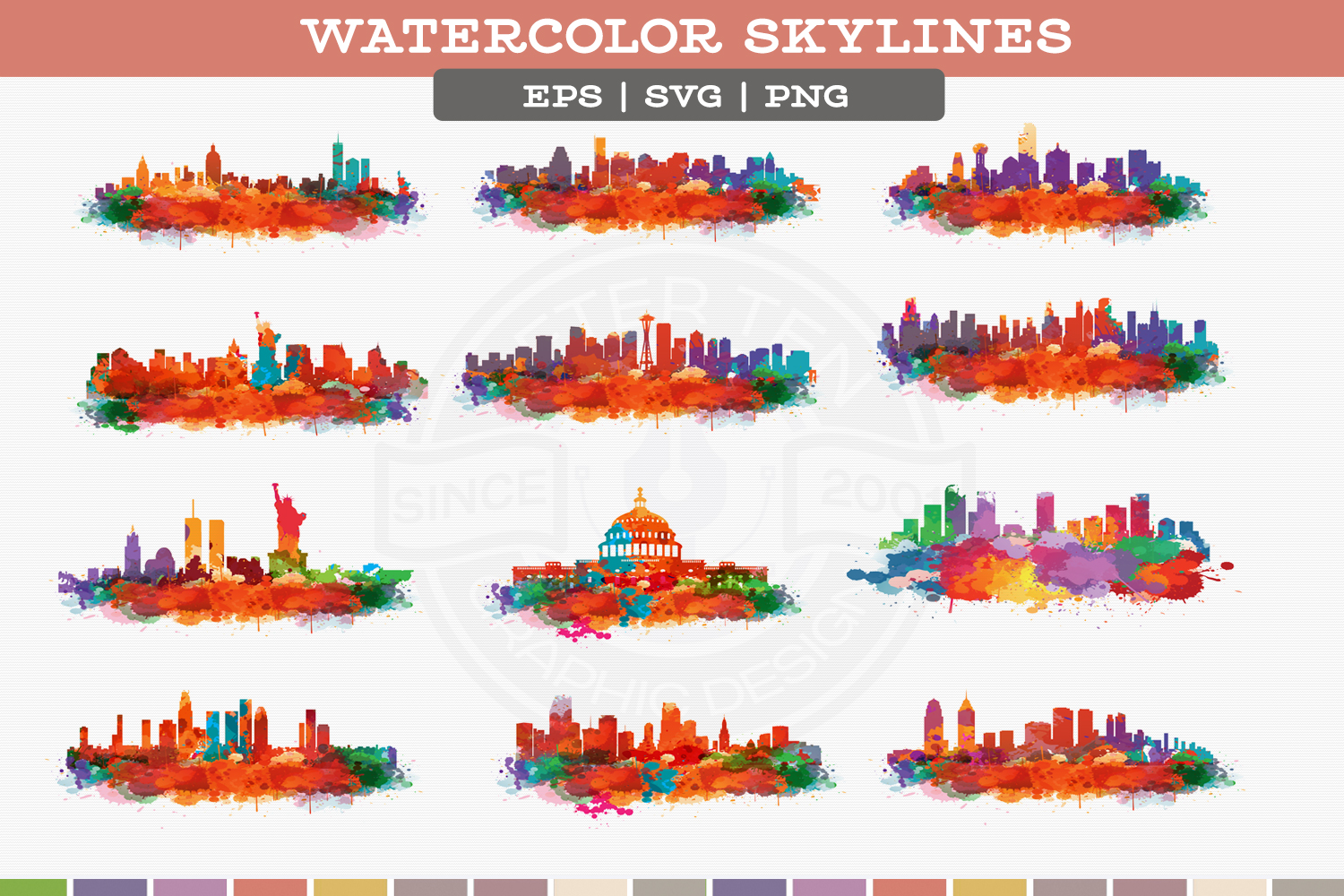 US Cities Watercolor Vol.1 example image 2