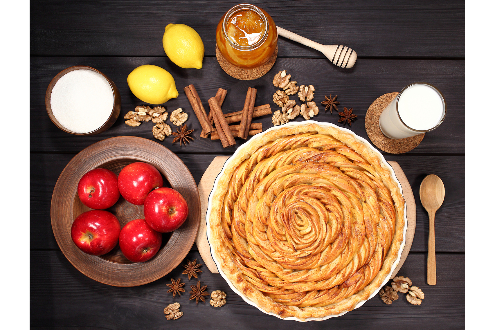 Set 12 photos Apple Pie and raw ingredients for baking. Sweet food series. Dessert. Top view example image 13