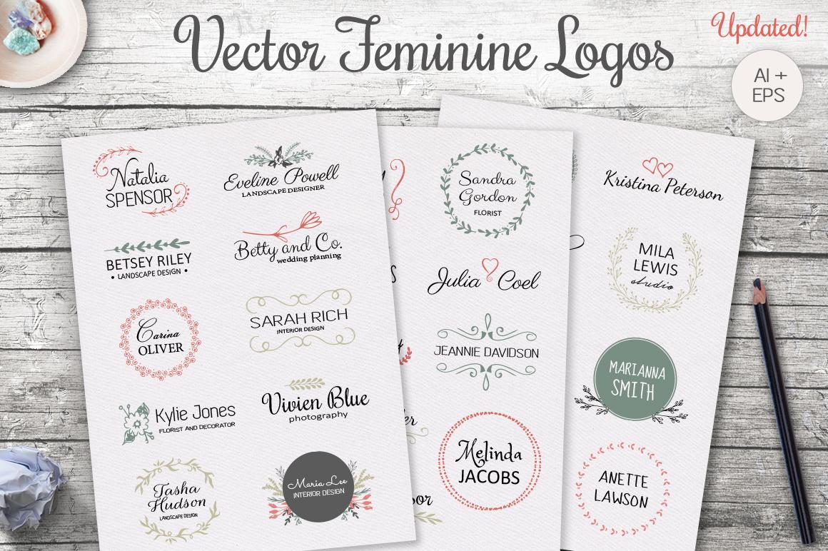 Vector feminine logo templates by Switz | Design Bundles