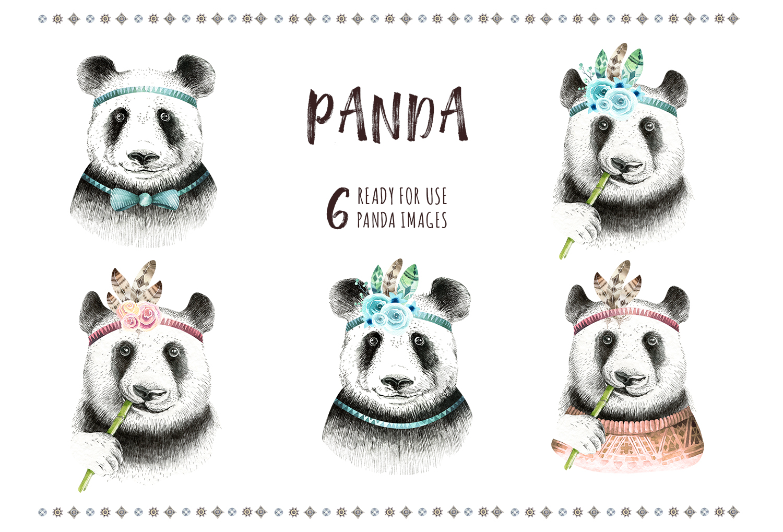 Watercolor panda illustration. Bohemian cute animals.  example image 4