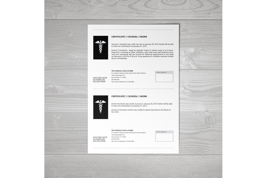 Doctors Note A4 Template example image 2