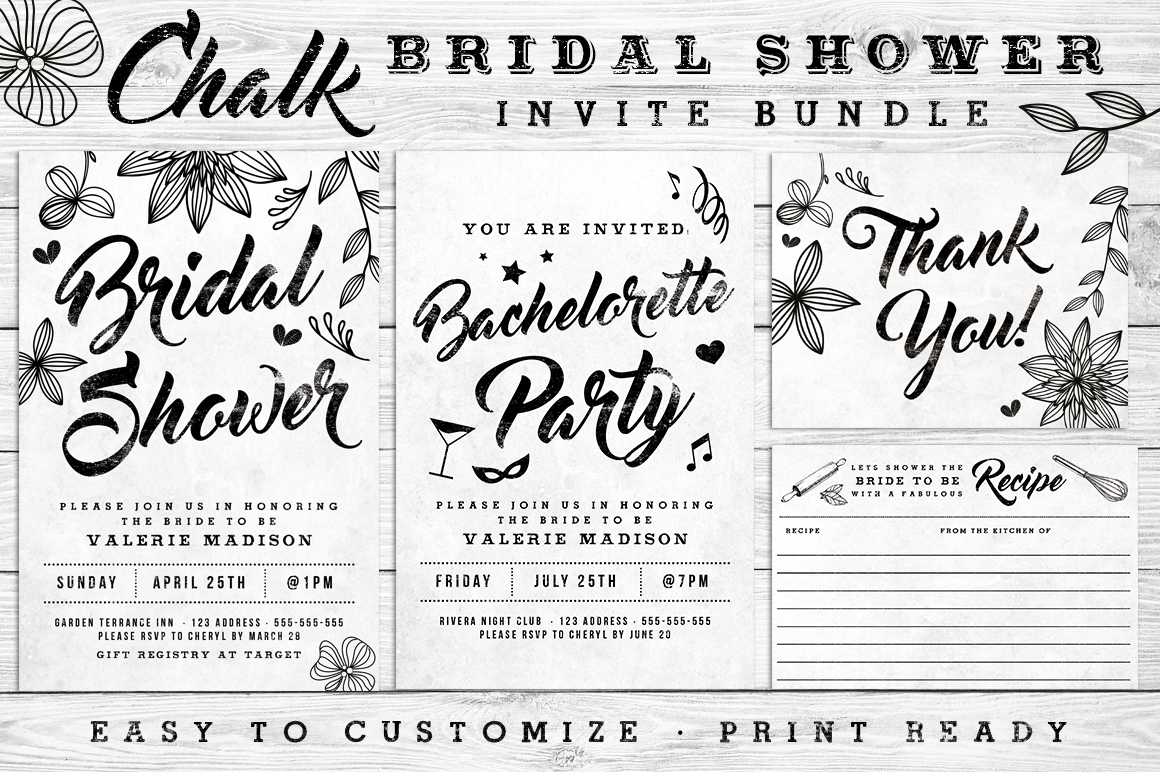 Massive Wedding Invite Bundle Flyer Save the Date Bridal Shower Party 60% Off example image 10