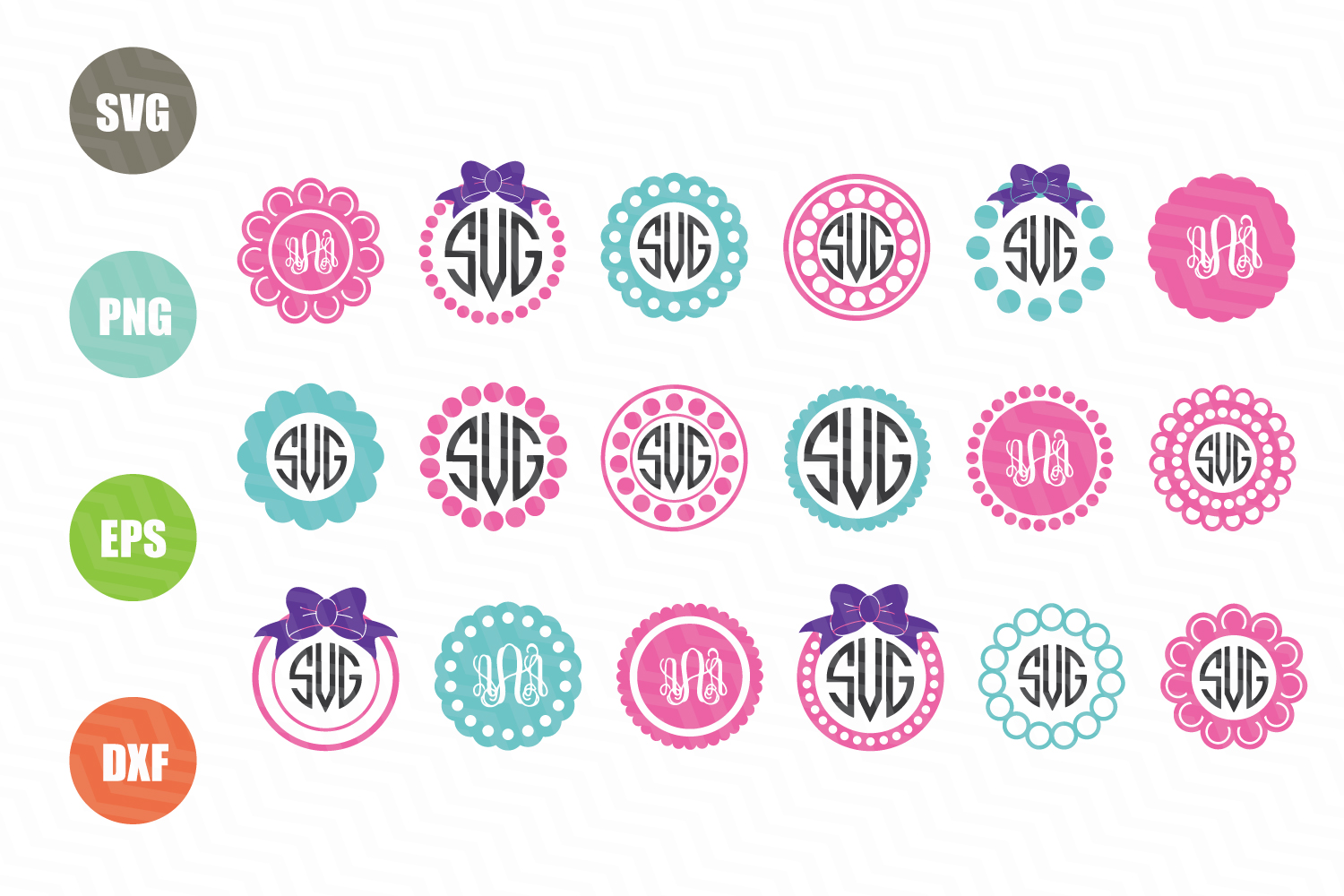 Circle Monogram Frames SVG example image 1