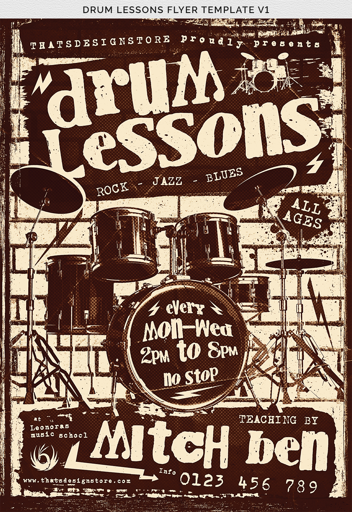 Drum Lessons Flyer Template V1 example image 11