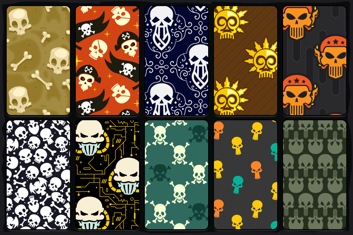 20 Skull Seamless Vector Patterns example image 2