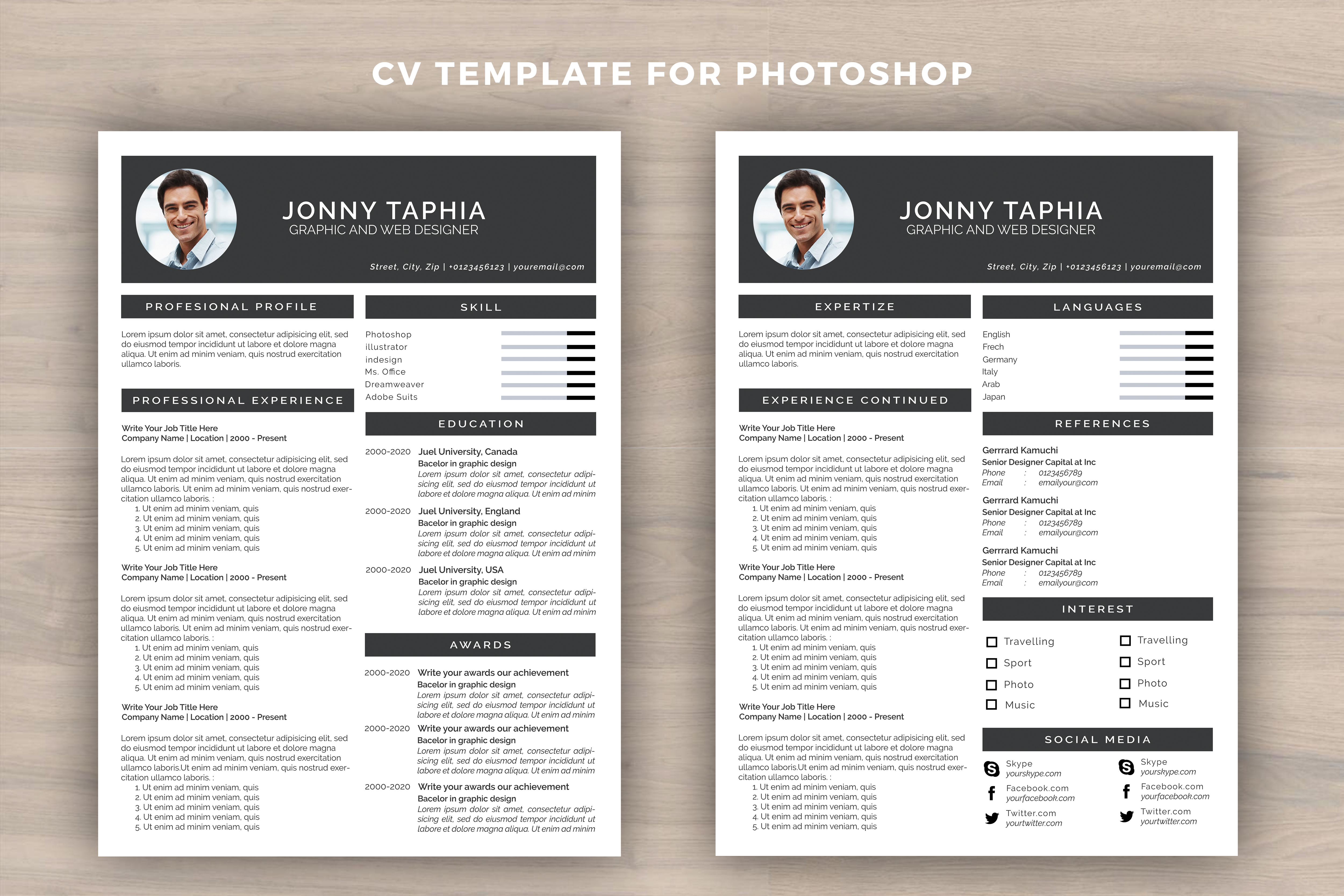 Resume template for photoshop by utopia design bundles resume template for photoshop example image 2 yelopaper Choice Image